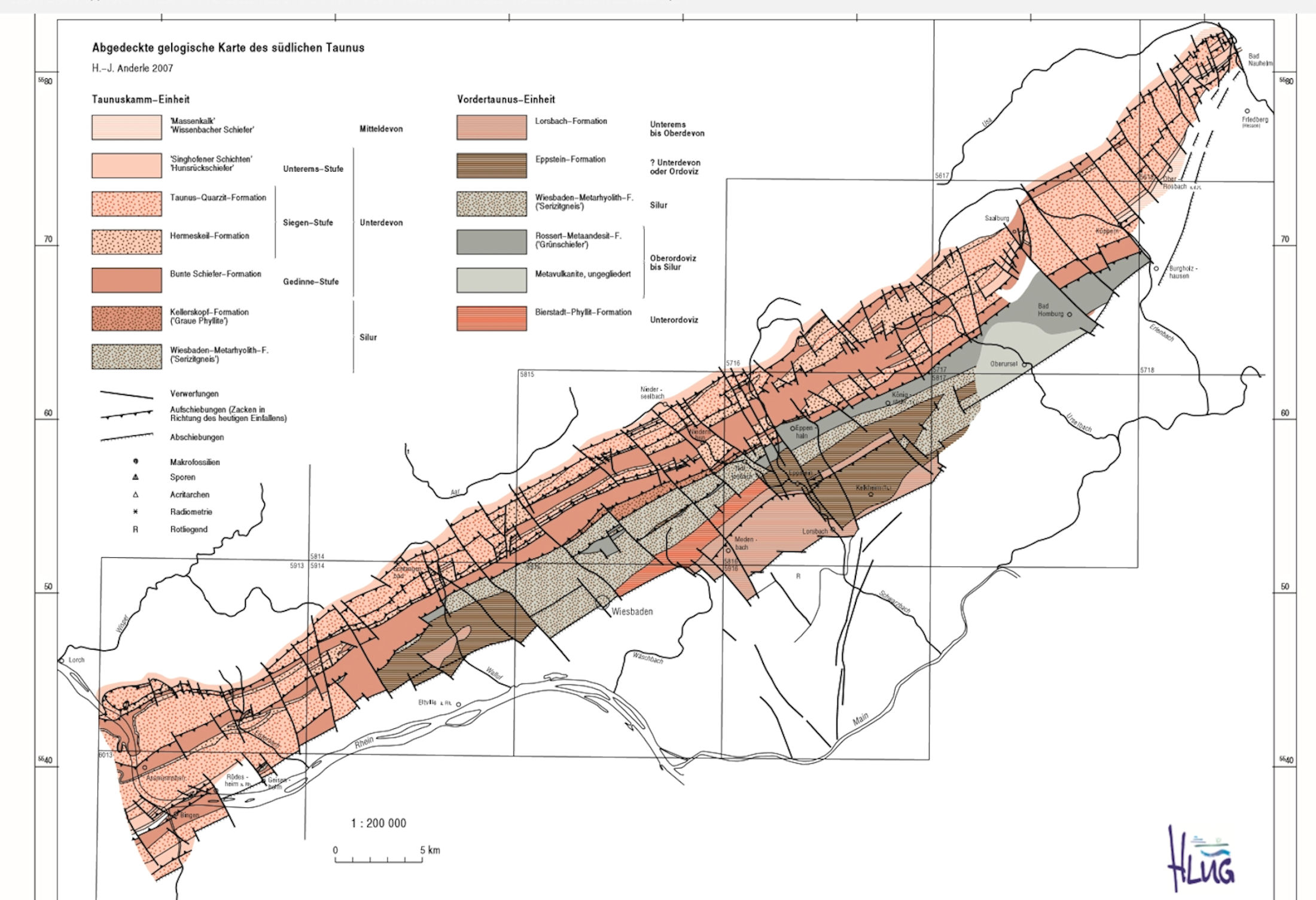 Geologische Karte des südlichen Taunus