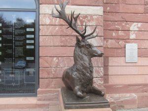 Hirsch vor dem Jagdschloss
