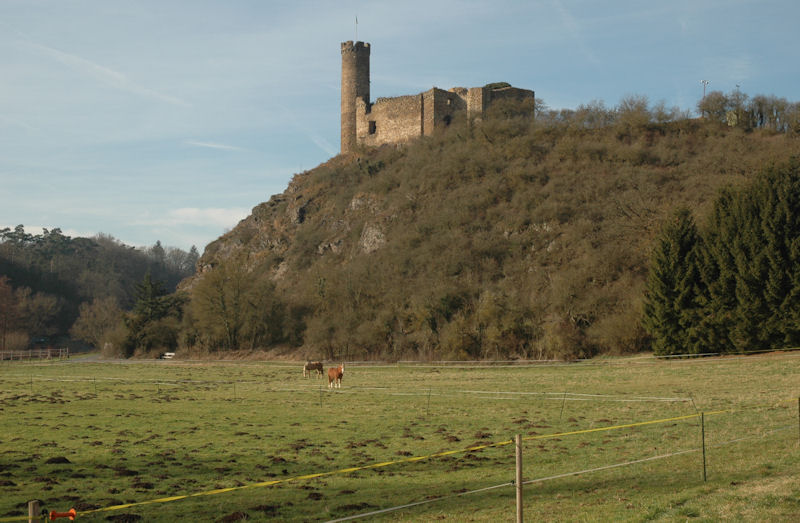 Die Burg Ardeck über dem Aartal