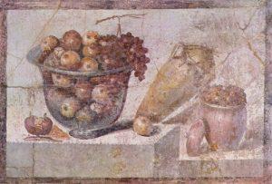 Stillleben mit Früchtekorb und Vasen. Pompeji, um 70 n. Chr.